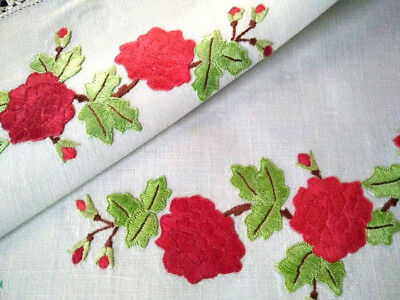 Stunning Red Roses  ~ Vintage Hand embroidered Centrepiece