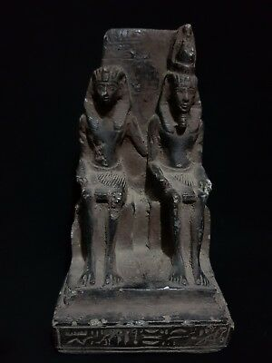 Rare Ancient Egyptian Antique Statue Ramses Ii With Queen Nefertari 1279-1213 Bc