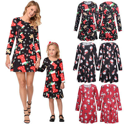 Family Matching Outfits Mother Daughter Kids Xmas Cotton Dress Casual Clothes