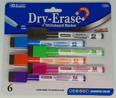 6 Pcs Whiteboard Erasable Dry Erase Magnetic Marker Pen Eraser School Supplies