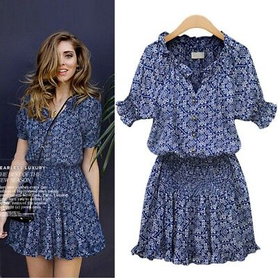 Women Summer Floral Print Short Sleeve Mini Dress V-neck Casual Dresses Fashion