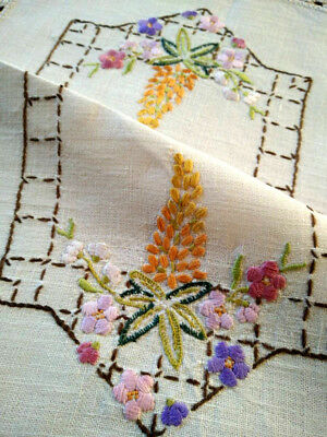 Gorgeous Lupin spikes & Florals  ~ Vintage Hand embroidered Centrepiece