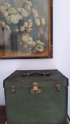 Victorian canvas and leather hatbox by WH Smith, Bath