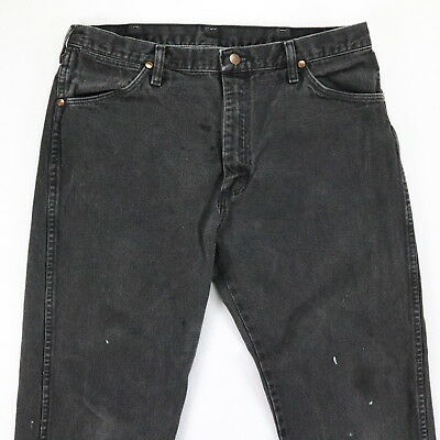 ecc9d40c Vtg Wrangler Jeans Mens 34 x 28 Faded Black Distressed Paint Grunge USA Made