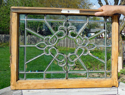 Antique BEVELED (LEADED, STAINED ) GLASS WINDOW  # 6   **FANCY**