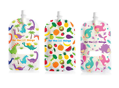 200ml Sinchies Reusable Food Pouches BPA Free Fruit, Mermaid or Dinosaur 5/10/20