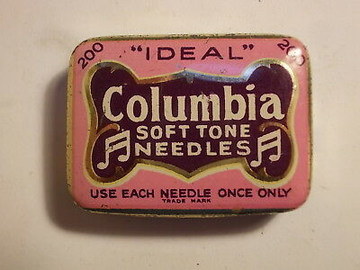 Old COLUMBIA Soft Tone Gramophone Needle Tin with Content. VG
