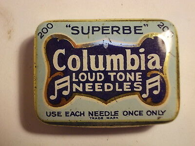 Old COLUMBIA Loud Tone Gramophone Needle Tin with Content. VG