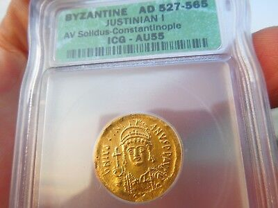 IGC Ancient Coin Byzantine Justinian I Gold Solidus 527 AD  Beautiful Coin !!!