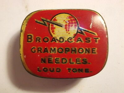 Old BROADCAST Loud Gramophone Needle Tin with Content. VG