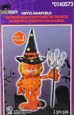 """NEW Devil Garfield Christmas Yard Decor 70 Clear Lights 30"""" Prop electric in/out"""