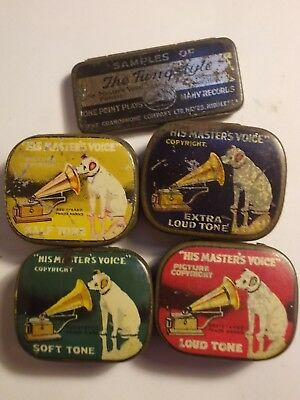 5 Old HMV Gramophone Needle Tins in Varying Cond.