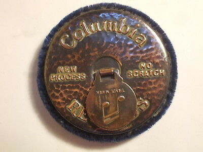 Old 1920's Columbia Bronze Gramophone Record Duster Cleaner. VG
