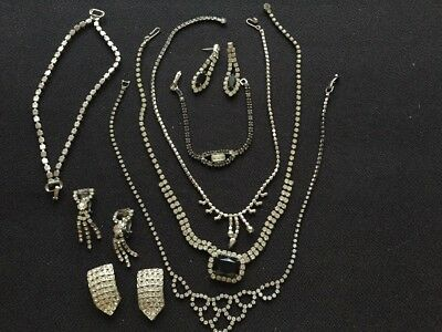 Huge Rhinestone Jewelry Lot! Vintage To Modern Necklaces Earrings And More!