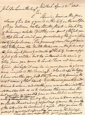 1818, New York, James C. Roosevelt, signed document and check grouping