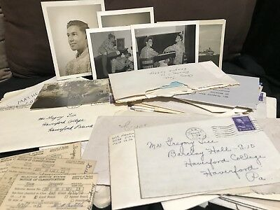 VINTAGE 1950s HANDWRITTEN TYPED LETTERS AND PAPER LOT HAVERFORD COLLEGE STUDENT