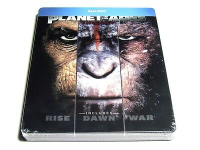 Planet Of The Apes Trilogy Steelbook Blu-Ray Limited Edition Import New *Dent