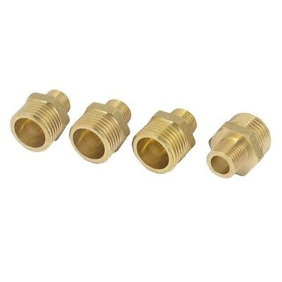 4Pcs 1/2 inch BSP to 1/4 inch BSP Male Thread Brass Pipe Hex Nipple Fitting X3J2