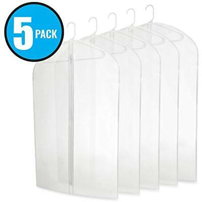 Garment Covers Five Pack Of PEVA 40 Translucent Bags With Zipper For Travel And