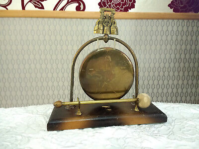 Vintage Brass Metal Chinese Welsh Table Top Gong Good Sound