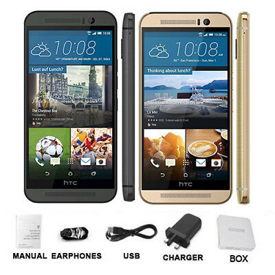 """HTC One M9 32GB 5"""" Grey Gold Unlocked Android 20.0MP 4G LTE Smartphone Boxed"""