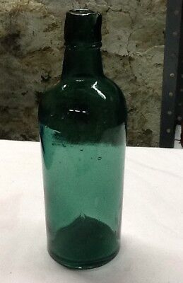 Mid 1800's Emerald Green Ink Distributing Bottle 3 Piece Mold Applied Top