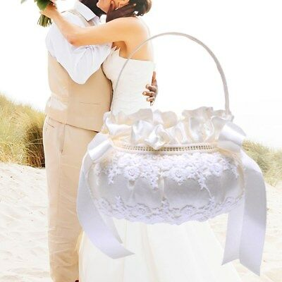 1pcs Wedding Bridal Basket Classic Embroidery Portable Flower Basket for Wedding