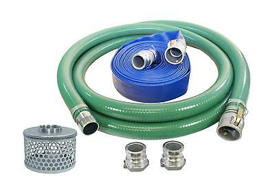 "3"" PVC Suction & Discharge Hose Pump Kit, 3"" Male x Female Aluminum Cam & Groove"