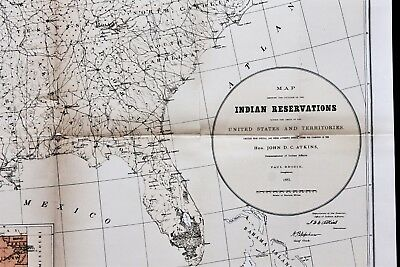 1885 UNITED STATES Map Indian Reservation Texas Florida Montana ...