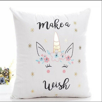 Gold Bronzing Unicorn Cotton Case Cushion Throw Pillow Home Sofa Decor G