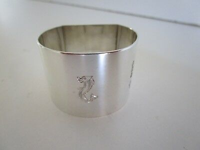 Sterling Silver Crested Napkin Ring, Hallmarked Sheffield 1945