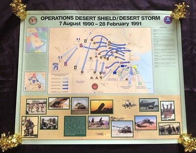 US Central Command - Operation Desert Storm/Desert Shield Map 8/7/90-2/28/91 Vtg