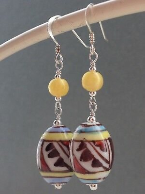Vintage Oval 'Aztec' Ceramic Beads & Deco Yellow Satin Glass 925 Earrings