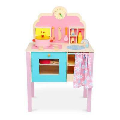 LARGE WOODEN KITCHEN Playset Toy Kids Children Cooking Role Play Pink
