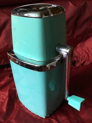 Vintage Sears Aqua Tabletop Ice Crusher Mid-Century Turquoise