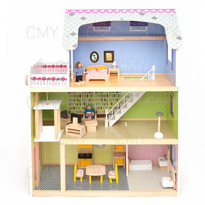 Kids Girls Wooden Dolls House Children Furniture Fits Doll 3 Cottages Toys Town