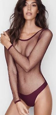697543c98c New Victoria s Secret Sheer Fishnet Mesh Thong Teddy Bodysuit Long Sleeve  Small