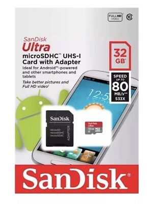 SanDisk Ultra Micro SD SDHC Memory Card With Adopter 100% 32GB 80MB/s 533X