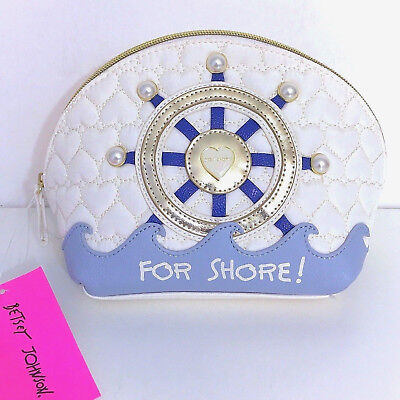 Betsey Johnson Cosmetic Makeup Bag Travel Beach Ocean Nautical Shore Case NWT