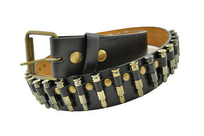 "Steampunk Bullet Belt 1"" Black Leather W/ Mini Gold Bullets Costume Accs."