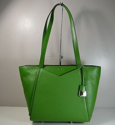 166ed4a331 Nwt Michael Kors Whitney True Green Leather Small Tz Tote Purse 30S8Gn1T1L