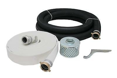 "2 Inch Rubber Water Suction & Discharge Hose Pump Kit, 2"" Male X Female NPSM"