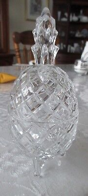 vintage crystal clear glass footed pineapple candy dish