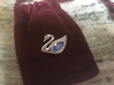 AUTHENTIC SWAROVSKI LOGO SWAN TAC PIN with Baby Blue Crystal Stones