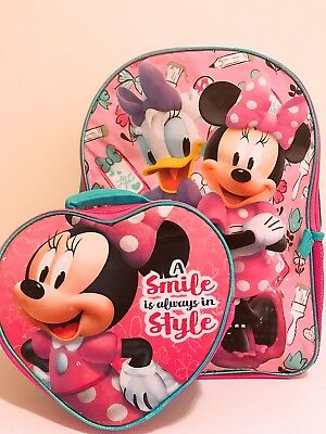 """16"""" Disney Minnie Mouse Back to School Book Bag Backpack Detachable Lunch Box"""