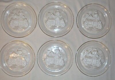 6 Antique Arcorac France Winter Holiday Glass Salad Lunch Dessert Plates Signed