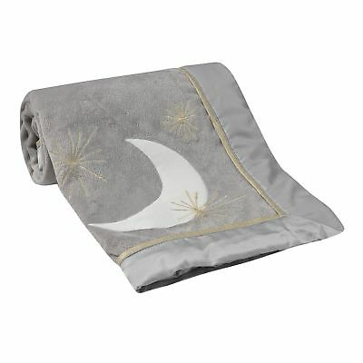 Lambs & Ivy Signature Goodnight Giraffe Moonbeams Blanket  -  Gray, Gold,