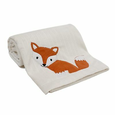Lambs & Ivy Woodland Tales Blanket  -  White, Woodland, Fox