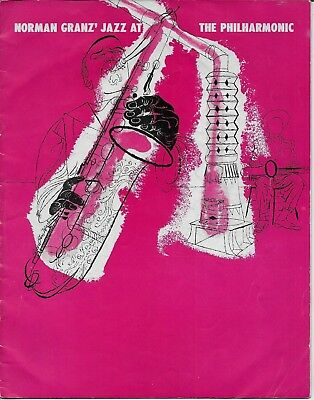 1951  Jazz At The Philharmonic Concert Program Coleman Hawkins Ella Fitzgerald