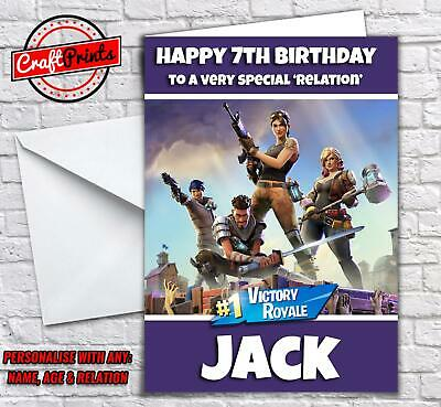 Personalised Fortnite Birthday Card - Personalise with any Name, age & Relation